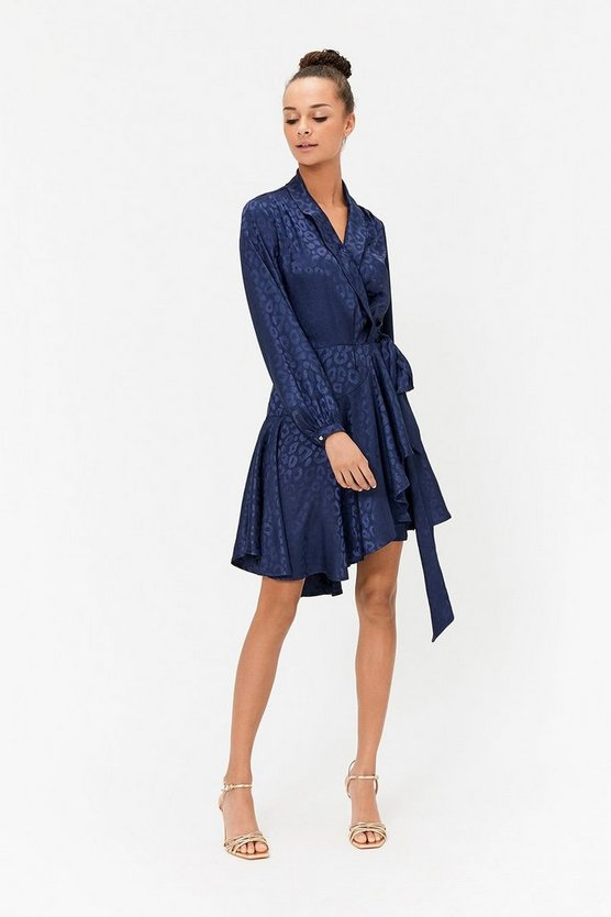 Navy Animal Jacquard Skater Mini Dress