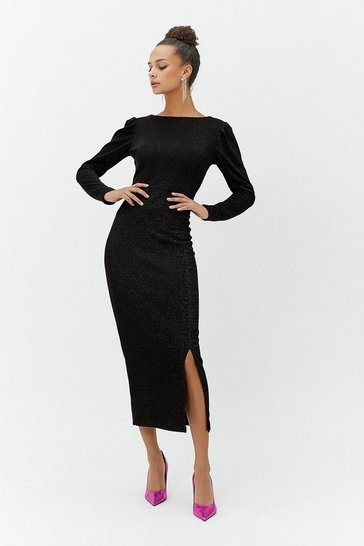 Black Sparkle Jersey Midaxi Dress