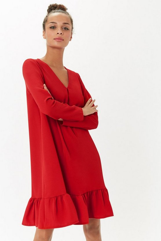 Red Long Sleeve Frill Hem Dress