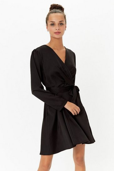 Womens Black Satin Wrap Skater Dress