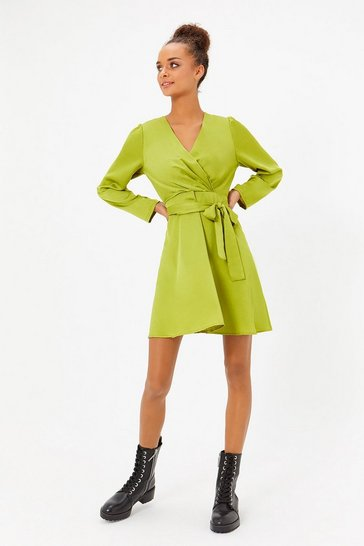 Green Satin Wrap Skater Dress