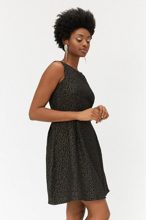 Black & Gold Jacquard Dress