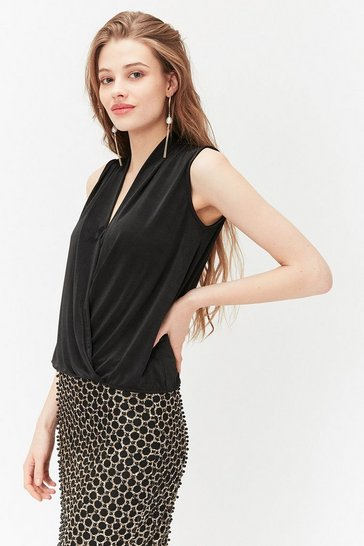 Black Jersey Wrap Shell Top