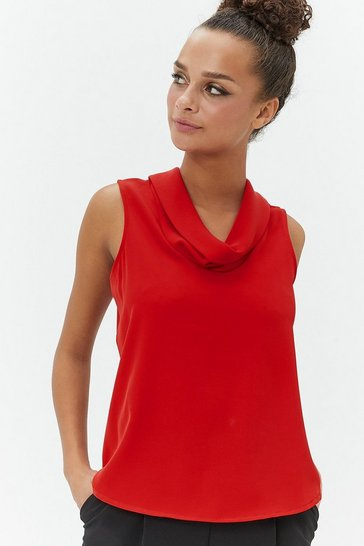 Red Cowl Neck Shell Top