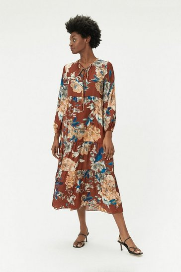 Long Sleeve Floral Midi Dress