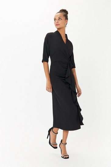 Black Midi Ruffle Front Shift Dress