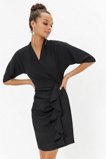 Womens Black Short Ruffle Front Shift Dress