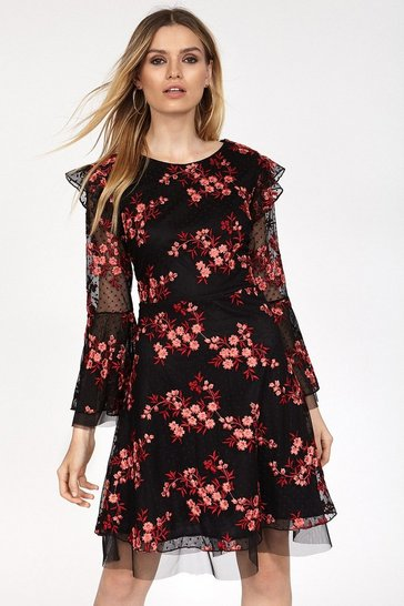 Black Embroidered Bell Sleeve Dress
