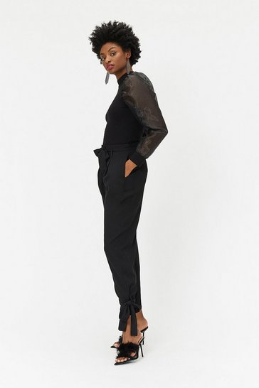 Womens Black Tie Cuff Trousers
