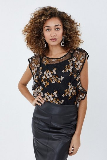 Black Embroidered Mesh Frill Top