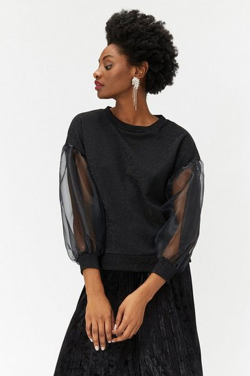 Womens Black Organza Sleeve Top