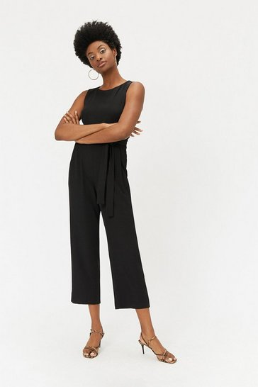 Black Paper Bag Waist Jumpsuit