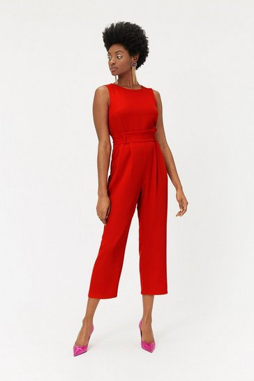 Womens Red Paper Bag Waist Jumpsuit