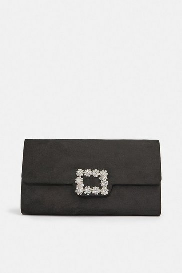 Black Embellished Buckle Clutch Bag
