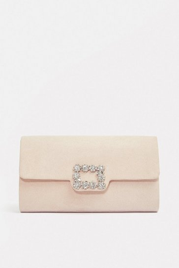 Blush Embellished Buckle Clutch Bag