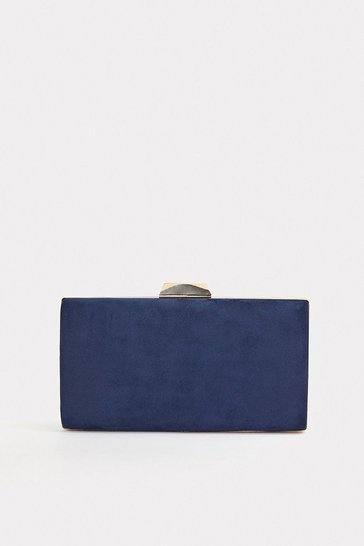 Navy Gold Bar Clasp Bag