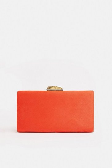 Scarlet Gold Bar Clasp Bag