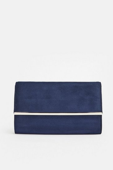 Navy Gold Bar Clutch Bag
