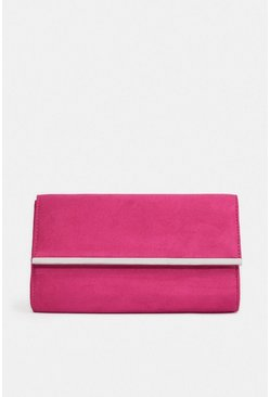 Pink Gold Bar Clutch Bag