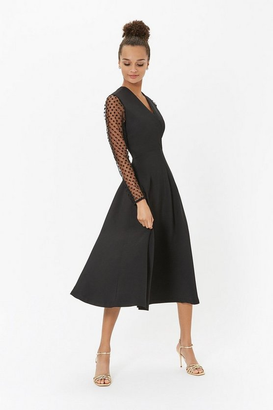 Black Polkadot Mesh Sleeve Midi Dress