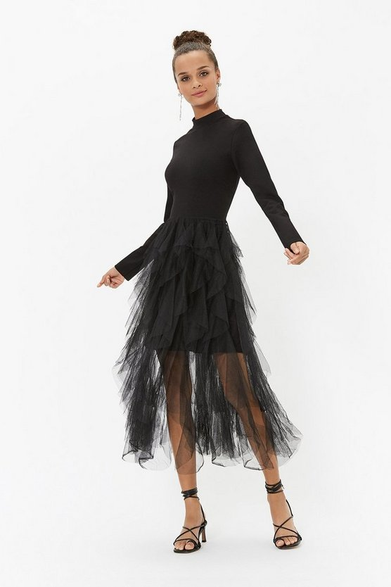 Black Ponte And Ruffle Tulle Shirt Dress