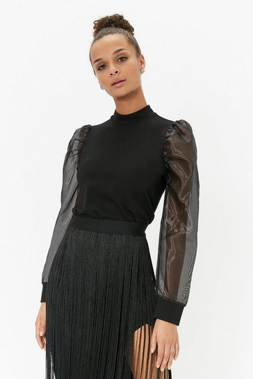 Womens Black Ponte Body Organza Sleeve Top