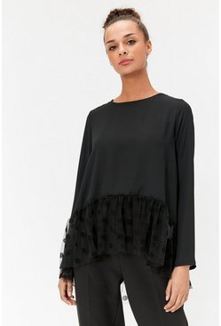 Black Peplum Hem Spot Mesh Top