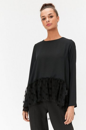 Womens Black Peplum Hem Spot Mesh Top