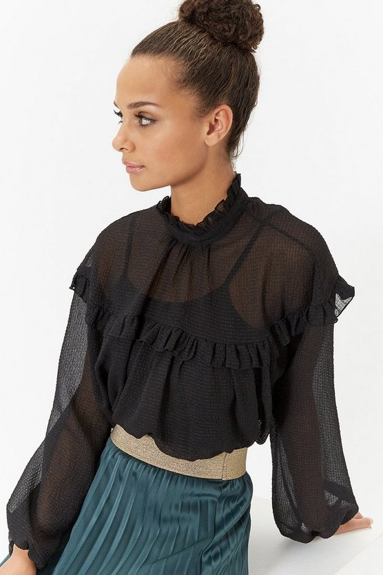Black Ruffle Textured Blouse