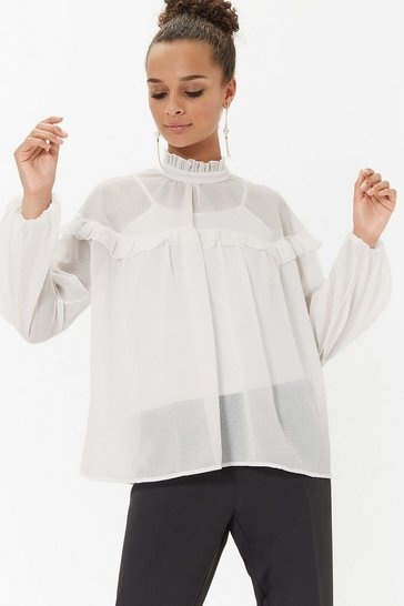 Ivory Ruffle Textured Blouse