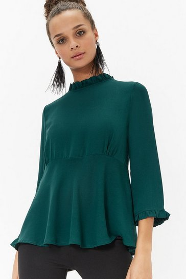Womens Forest Frill Neck Edge Top