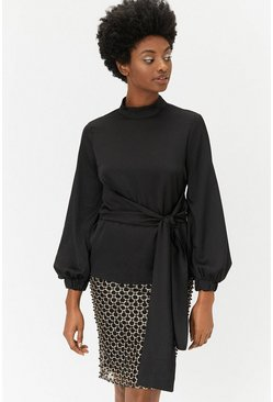 Black Long Sleeve High Neck Tie Waist Top