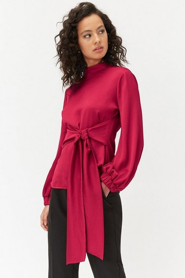 Hot pink High Neck Tie Waist Top