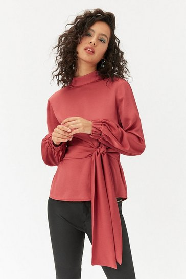 Womens Rose Blouse Sleeve Tie Belt Top