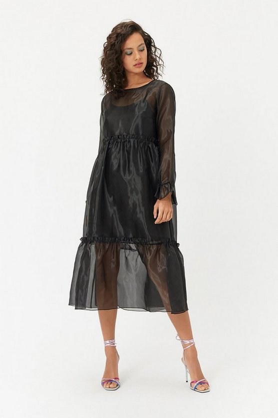 Black Long Sleeve Organza Sack Dress