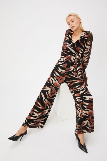 Multi Curve Burnout Animal Jumpsuit
