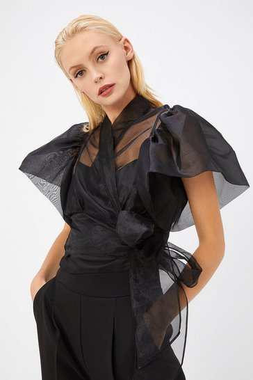 Womens Black Organza Wrap Top