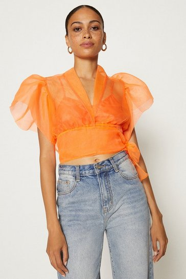 Orange Organza Wrap Top