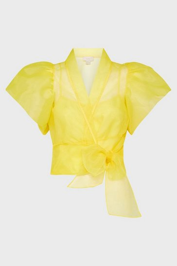 Yellow Organza Wrap Top