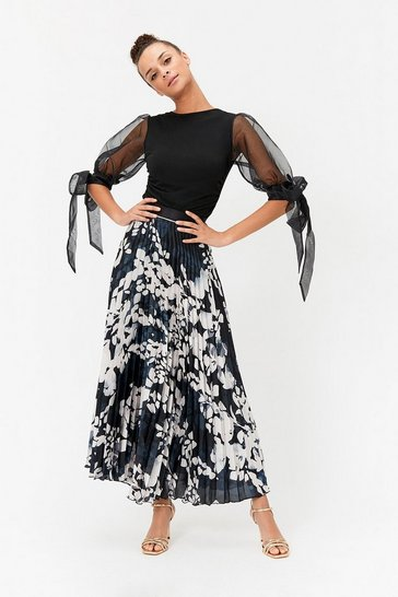 Multi Animal Print Pleated Maxi Skirt