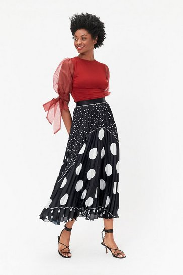 Black Spot Print Pleated Skirt