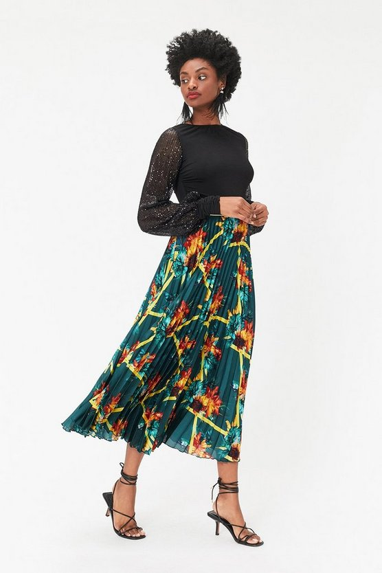 Womens Teal Scarf Print Pleated Skirt