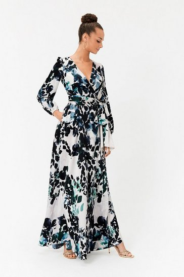 Animal Print Wrap Maxi Dress