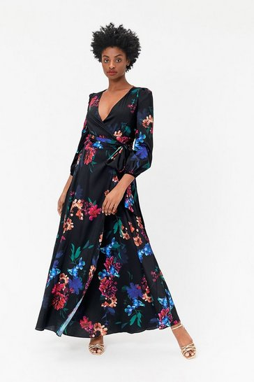Blue Floral Print Wrap Dress