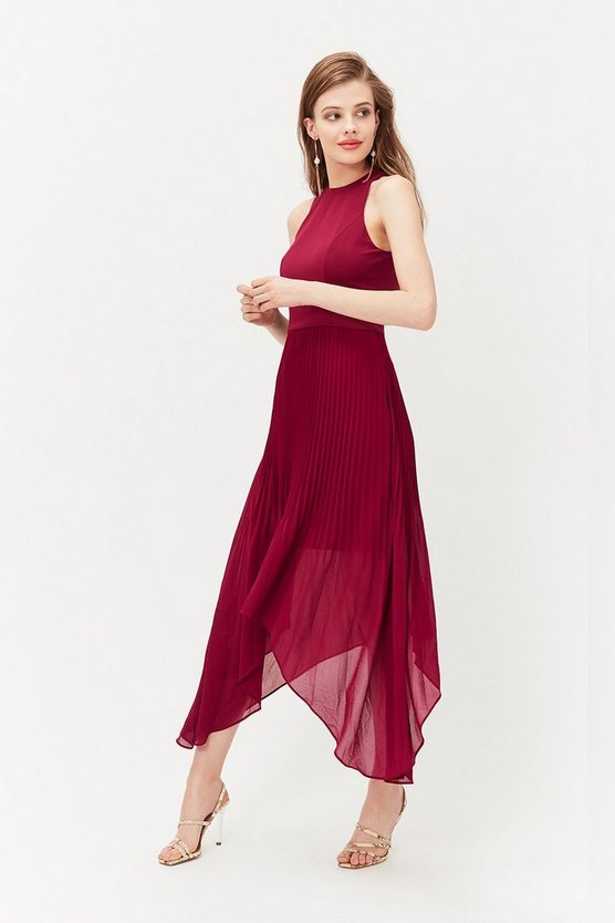 Merlot Dip Hem Pleated Skirt Dress