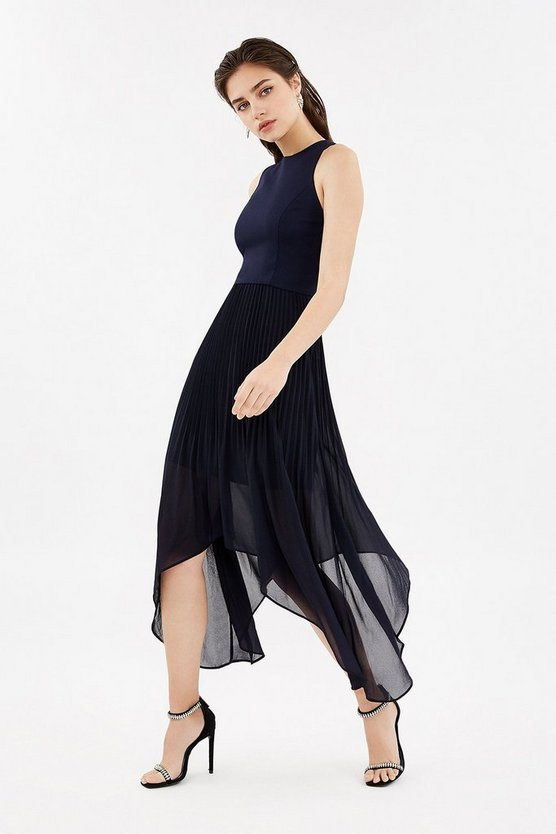 Navy Dip Hem Pleated Skirt Dress