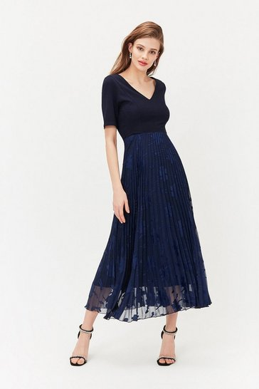 Navy Solid Bodice Pleated Sparkle Skirt Dress