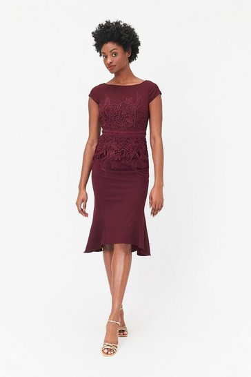 Womens Berry Lace Waist Shift Dress