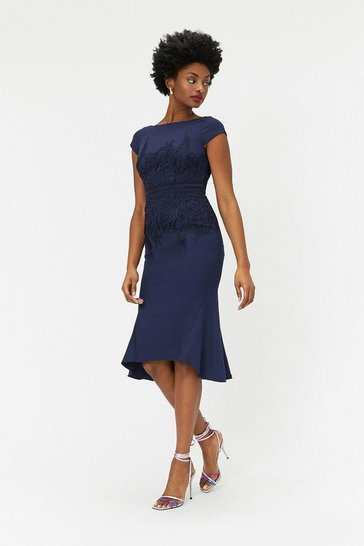 Womens Navy Lace Waist Shift Dress