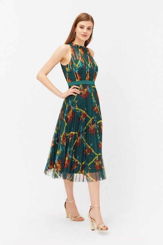 Multi Floral Print Ruched Mesh Dress